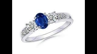 Oval Sapphire and Round Diamond Three Stone Ring | Angara.com
