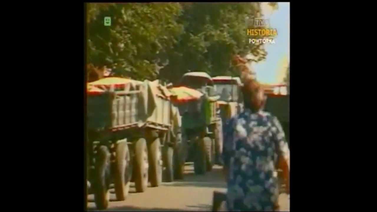 PRL 1989 Rolnicy, protesty i urodzaj, brak papieru, bieg Tomasza Nagórki