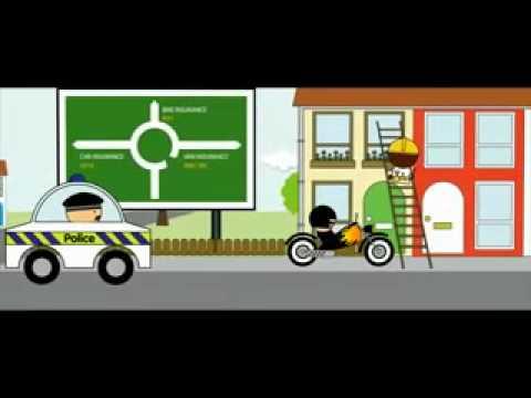 Funny Cartoon Auto Insurance Advertisement
