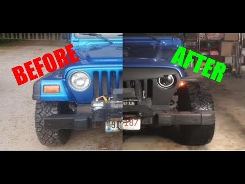 Jeep Wrangler Tj LED Headlight & Angry Grill Installation