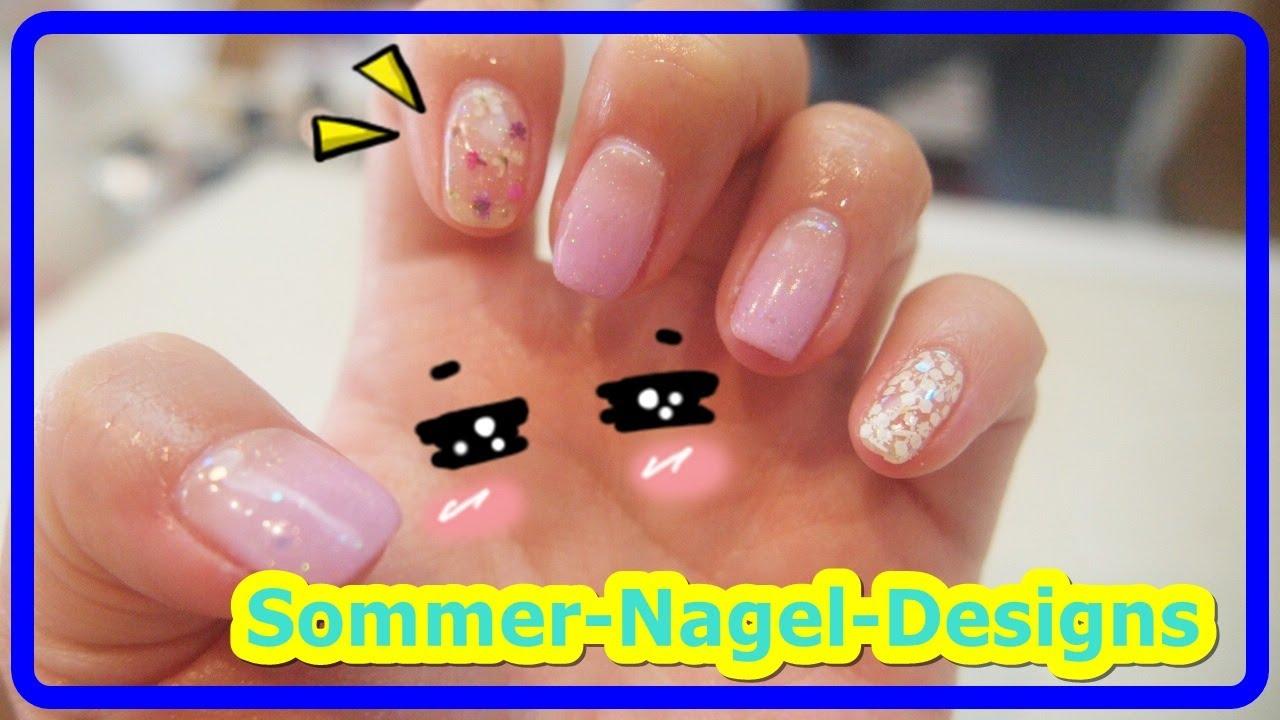 여름네일아트  생화 꽃으로 연보라빛 네일아트 해보았어요! Sommer-Nagel-Designs  サマーネイルデザイン Hari Musim Panas