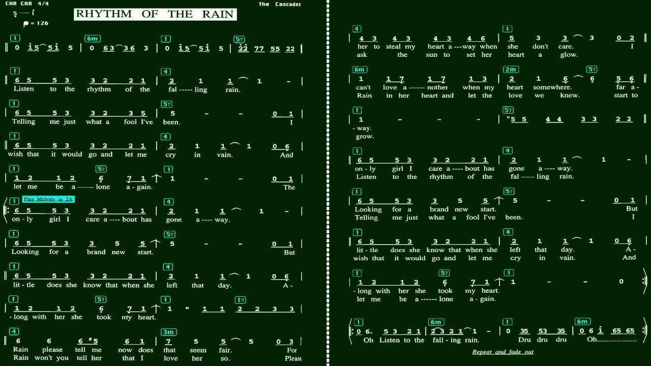 伴奏_Rhythm of the Rain(雨的旋律)(Eb)伴奏-(簡譜) - YouTube