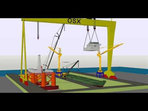 Içamento com pórtico em construção naval - Heavy lift using gantry crane in shipbuilding