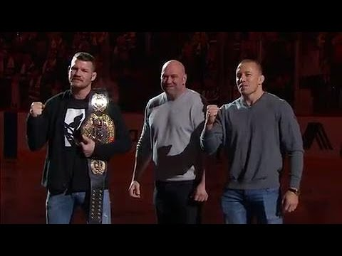 Dana White, GSP & Bisping drop puck at Bell Centre