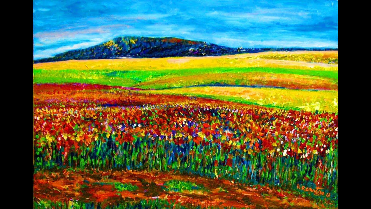 How I Paint Sunrise In Wild Field Impressionist Style Acrylic On Board By Rami Benatar