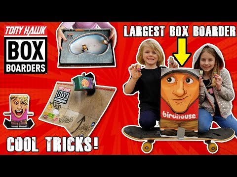 New! Tony Hawk Box Boarders Skateboarding Toys! LARGEST Box Boarder Ever on Real Skateboard!