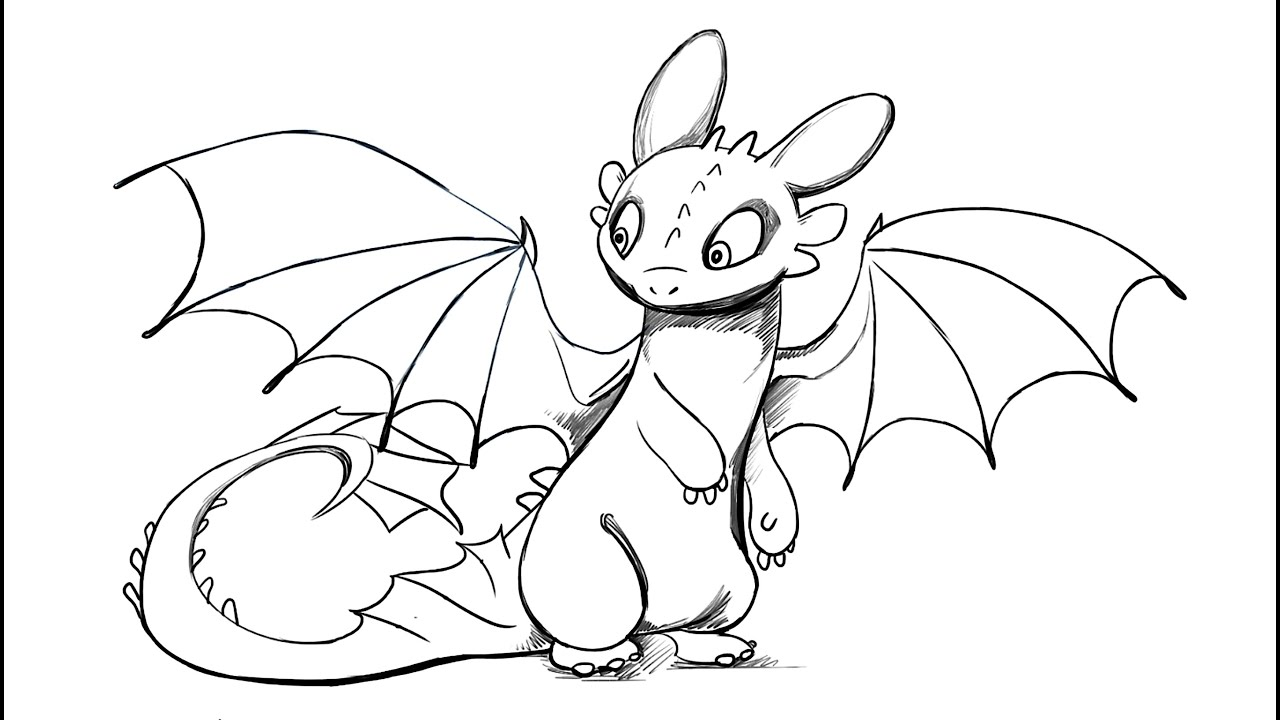 How to draw Toothless Dragon from How To Train Your Dragon ...