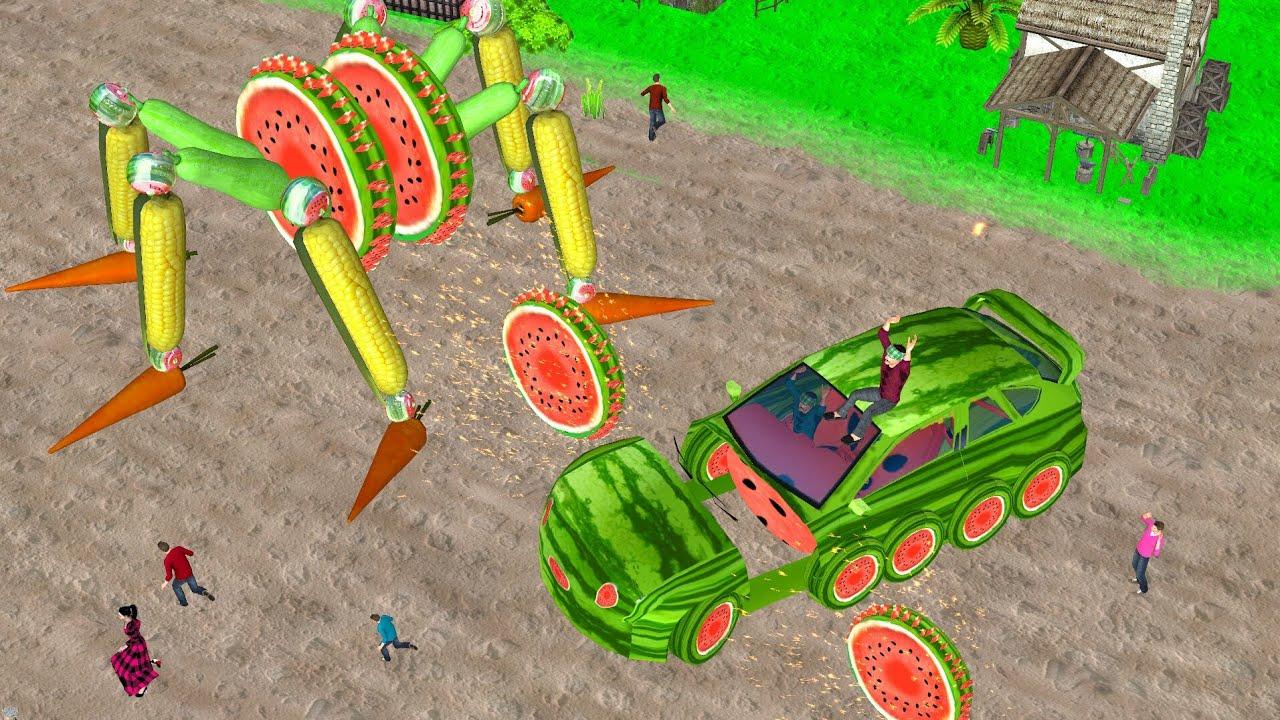 जादुई टूटा तरबूज कार सब्जी रोबोट Magical Broken Watermelon Car Robot हिंदी कहानियां Kahani 3D Hindi