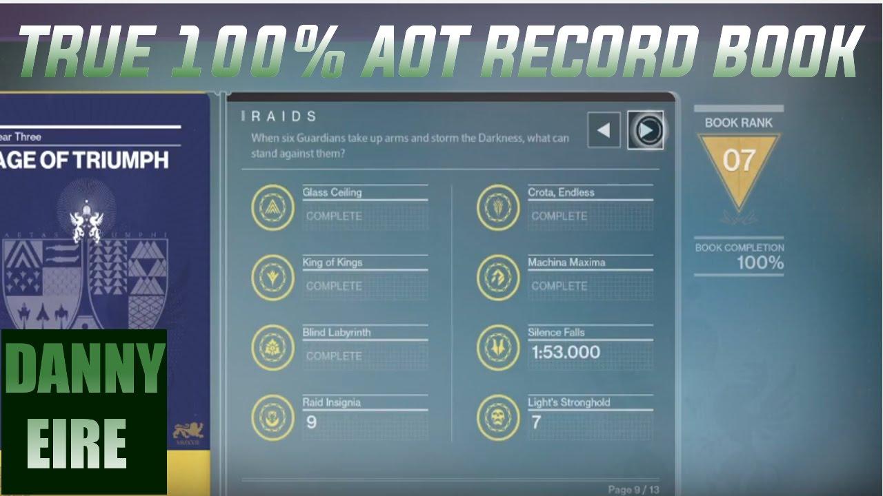 true 100% age of triumph record book - destiny - youtube