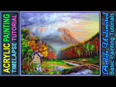 Painting Tutorial Landscape with House, Bridge, River and Autumn Forest During Sunset ACRYLIC LESSON