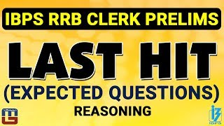 Expected Questions | Last Hit | Reasoning | IBPS RRB CLERK PRELIMS 2017 2017 Video