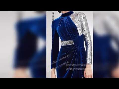 elegant-contrasting-long-sleeves-hatler-neckline-high-thigh-slit-sequin-velvet-dress