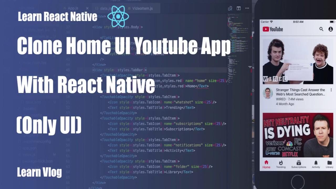 React Native tutorial - Home UI Youtube App (Only UI) React Native
