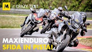 Maxienduro: sfida in pista a 240 km/h con BMW, Ducati, KTM! [English sub.]