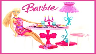 Barbie Glam Dining Set Life In The Dreamhouse Cute Dining Barbie Room Barbie Dollhouse Playset