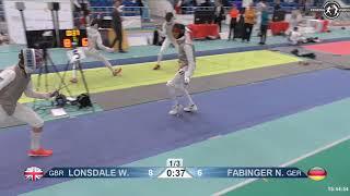 2018 1234 T64 13 M F Individual Halle GER European Cadet Circuit BLUE FABINGER GER vs LONSDALE GBR