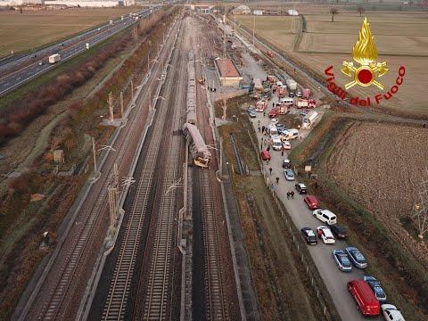 Lodi-Casalpusterlengo INCIDENTE FERROVIARIO Treno Alta velocità Frecciarossa. Morti due macchinisti