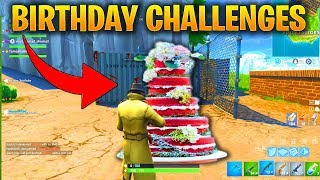 FORTNITE BIRTHDAY CHALLENGES - HOW TO GET FREE BACK BLING SPRAY PAINT AND BIRTHDAY CAKE LOCATIONS