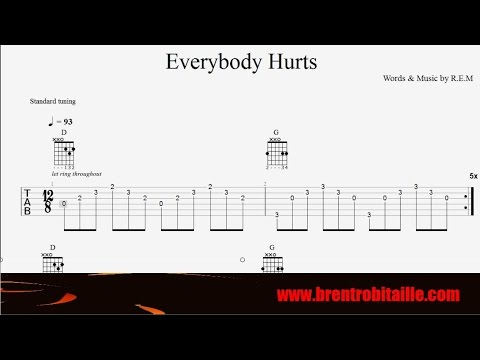 Guitar Tab Everybody Hurts Rem Youtube