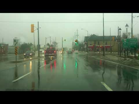2018 Orangeville to Brampton Driving in Winter Rain Canada 4K