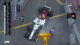 Charles Leclerc tape sa voiture lors des Essais Libres 1