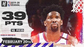 Joel Embiid 39 Pts 16 Reb Full Highlights   Nets vs 76ers   February 20, 2020