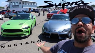 2020 TOYOTA SUPRA vs. 2018 MUSTANG GT ROLL RACING! *ITS FASTER THAN YOU THINK*