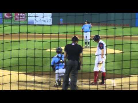 Wilmington RHP Spencer Patton vs. Salem 3B Garin Cecchini, 6.11.13
