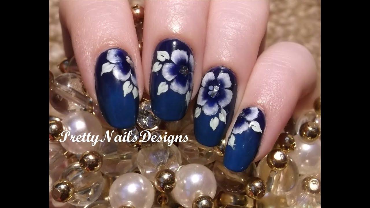 Whiteblue one stroke flowers on dark blue background nail art whiteblue one stroke flowers on dark blue background nail art youtube prinsesfo Gallery