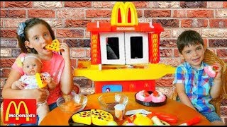 McDonald's Drive Thru Kids Pretend Play with Baby Doll and Kitchen Toy Playset
