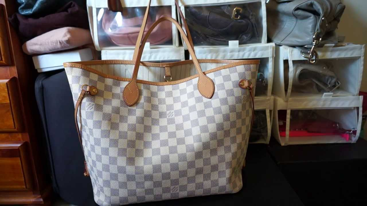 ed6e6cfe345b Louis Vuitton Damier Azur MM Neverfull - Review and Contents - YouTube