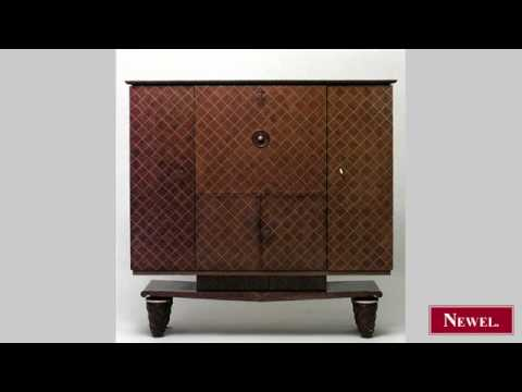Antique French 1940s walnut & satinwood inlaid diamond