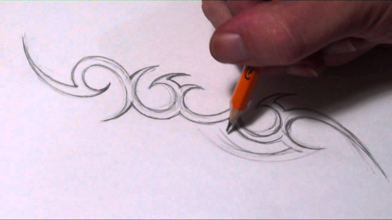 Drawing a Simple Tribal Name Tattoo Design - YouTube