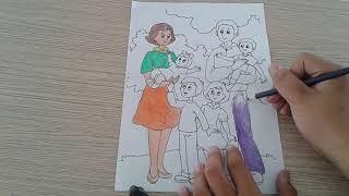 Tô tranh gia đình bằng chì màu cực đẹp