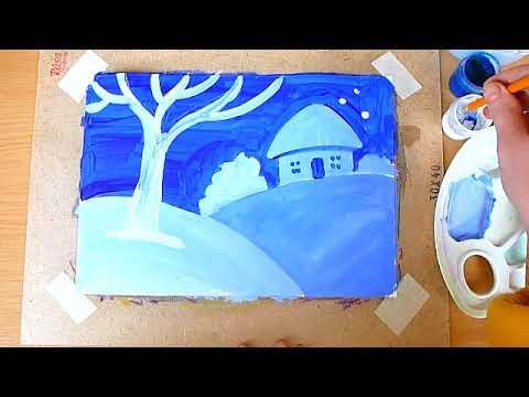 1 клас. Мистецтво. Малюємо зимовий пейзаж за допомогою відтінків голубого кольору