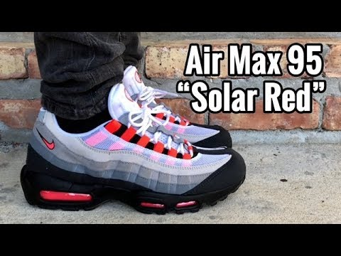 air max 95 solar red on feet youtube. Black Bedroom Furniture Sets. Home Design Ideas