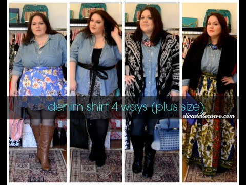 How to wear a plus size denim shirt 4 ways - YouTube