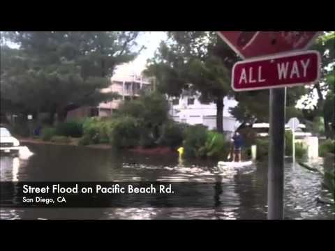 Paddle Boarding Flooded Streets of Pacific Beach
