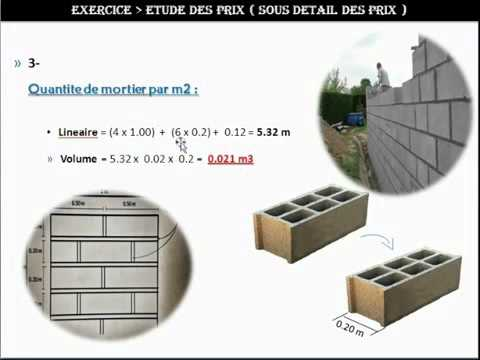 Etude de prix sous d tail des prix pour un m2 de mur en bbm youtube - Sous detail de prix gros oeuvre ...