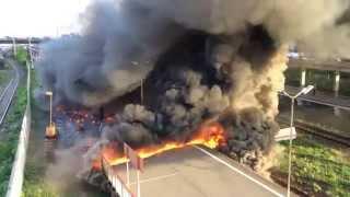 Пожар и его тушение на платформе Ржевская. 16 мая 2014