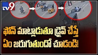 Cell Phone driving leads to accident in Bahadurpura TV9