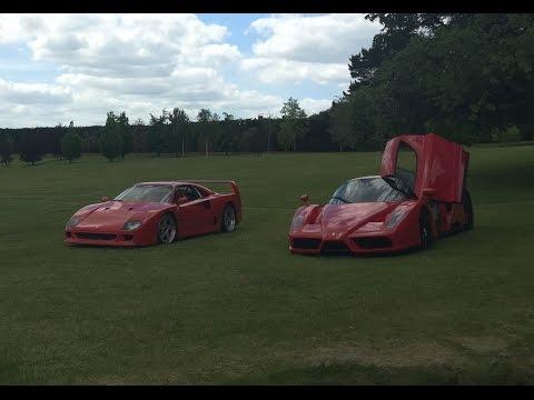 Ferrari F40 + Enzo Field Day. 18 Year Old Driver Drifting/Sliding