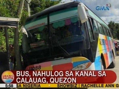 UB: Bus, nahulog sa kanal sa Calauag, Quezon