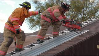 Roof cut comparison of Cutters Edge MULTI-CUT Fire Rescue Chainsaw and H2 Rotary Saw