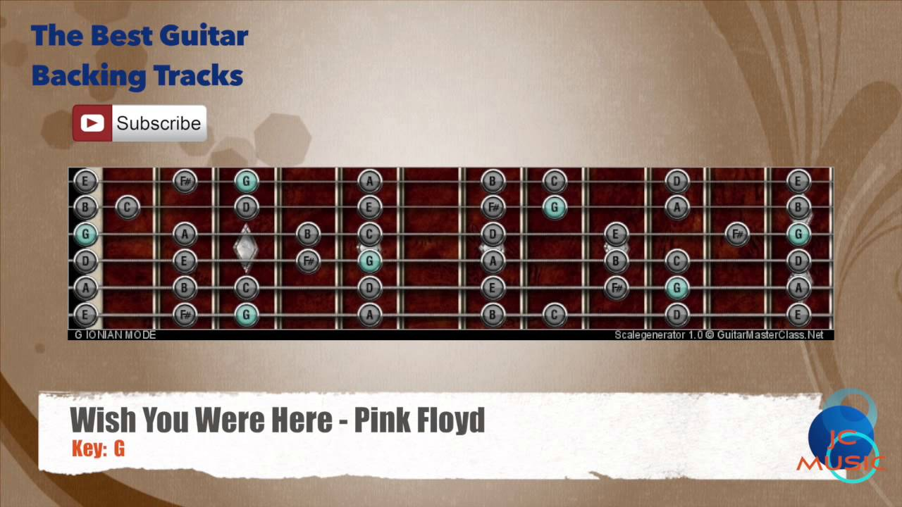 Wish You Were Here Pink Floyd Guitar Backing Track With Scale Chart YouTube