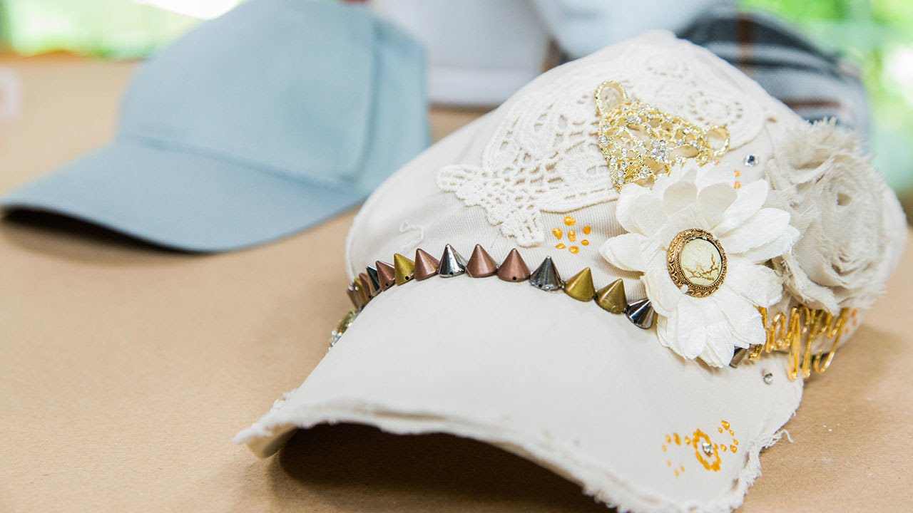Tanya Memme s DIY Blinged out Baseball Hats - YouTube a07dd00f553