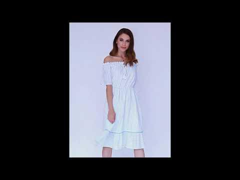 Video: Sukienka hiszpanka midi w paski z chwostami