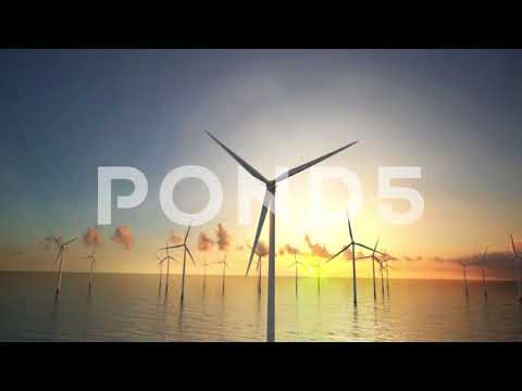 Wind Turbines in Ocean / Offshore Wind Farm