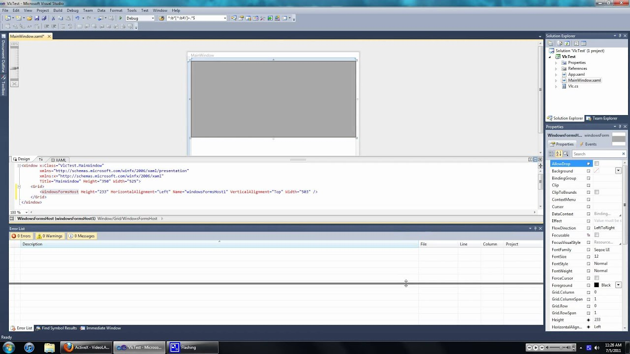 Using the VLC ActiveX control in WPF | TheZaZa101's Blog