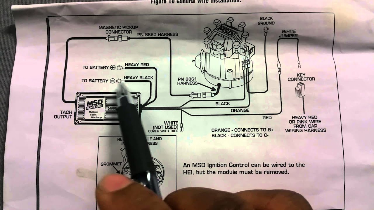 how to install msd 6al ignition box on hei youtube toyota alternator wiring schematic toyota alternator wiring pinout